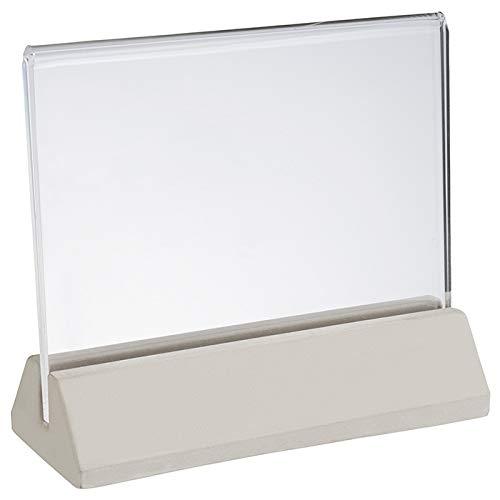 """APS Kartehalter, 2tlg. """"Element"""", Tafelhalter, Menühalter, Tischschild, Fuß aus Beton, Halter aus Acryl, 4,5 x 11,5 cm, 10 cm Höhe"""