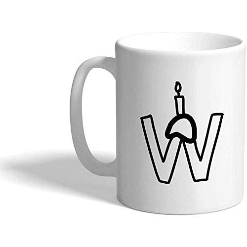 Benutzerdefinierte lustige Kaffeetasse Kaffeetasse \'W\' Geburtstag Kerze Monogramm Buchstabe W weiße Keramik Teetasse 11 Unzen Design nur