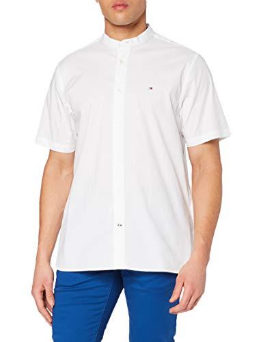 Tommy Hilfiger Herren Stretch Poplin Shirt S/s Sweatshirt, White, L