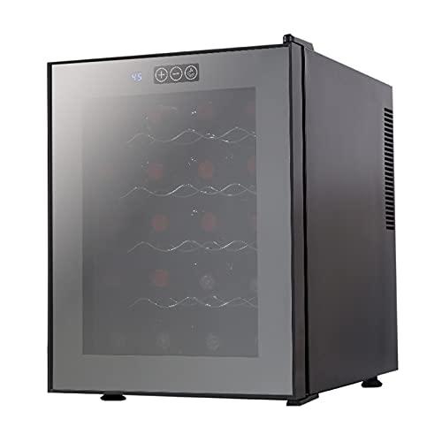 QIYE Gabinete de Vino de Temperatura Constante, 20 Botella de Vino refrigerador Mini refrigerador, Contador de vinos Nevera, para Vino Tinto Puerta de Vidrio Tranquilo