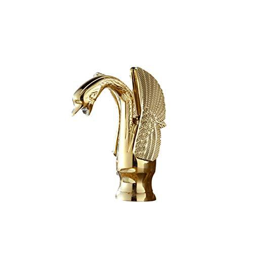 HAUSELIEBE Oro Grifo de Lavabo Montado En Cubierta Forma Elegante de Cuello de Cisne Grifo de Cuenca con Fría y Caliente Agua,Short