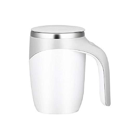 Sishangm Elektrische Rührkaffee Milchschale, Milchshake-Kaffee Rührer Tasse Elektrische Rührschale, Kapazität: 401-500ml, offener Bechergriff, bequemer Griff, pp (Color : White)