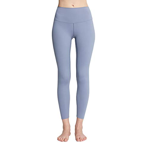 Women Yoga Pants, Adults Solid Color High Waisted Tights for Running Fitness (Dusty Blue, M)