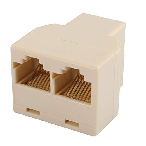 Cable de red RJ45 divisor conector hembra a hembra adaptador de red, 1 a 2 puertos hembra, CAT 5/CAT 6 LAN Ethernet Splitter Conector adaptador PC, blanco