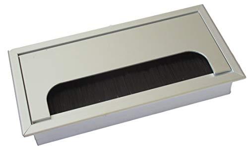 160x80mm Kabeldurchführung für Schreibtisch/Tisch – aus Aluminium gebürstet in Edelstahl-Optik