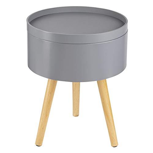 ONVAYA® Mesa auxiliar de madera, gris, madera, diámetro de 35 cm, mesa...