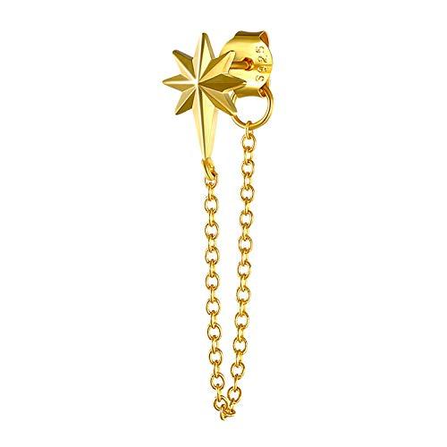 wangk Serpiente de Plata Oreja Lin Cadena Pendientes 925 Plata de Ley Mujer Cristal Popular Color de Oro para Mujeres Cadena de Alambre de oído Plata 6