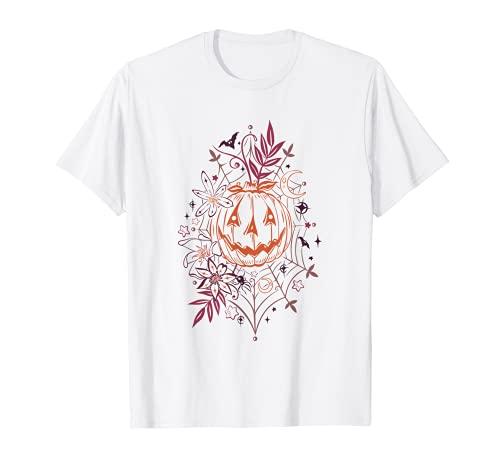 Murcilagos y tela de araa de calabaza de Halloween otoal Camiseta