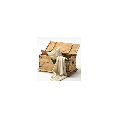 Truhe TEQUILA, Kiefer massiv gewachst und gebeizt mit Metallbeschlägen, 92x45x50cm - 2