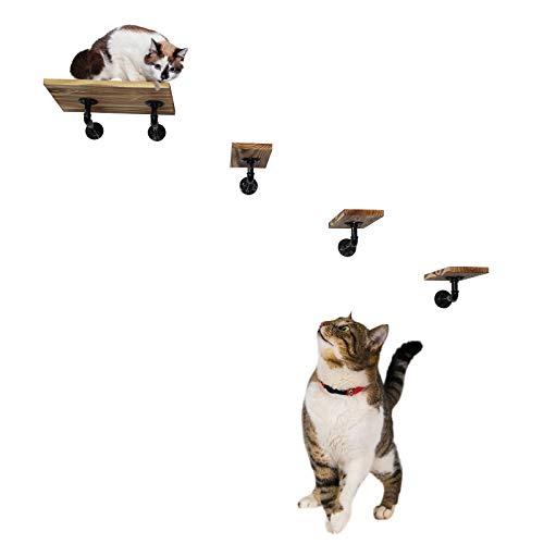 Montado en la pared Estantes para gatos Escaleras de estantería del gato, Gatito cama Sofá de madera, 1 plataforma + 3 escalones de escalada + 5 soportes de estante, muebles para gatos hechos a mano