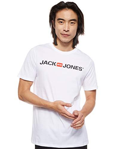 Jack & Jones Jjecorp Logo tee SS Crew Neck Noos Camiseta, Blanco (White Detail: Slim Fit), X-Large para Hombre