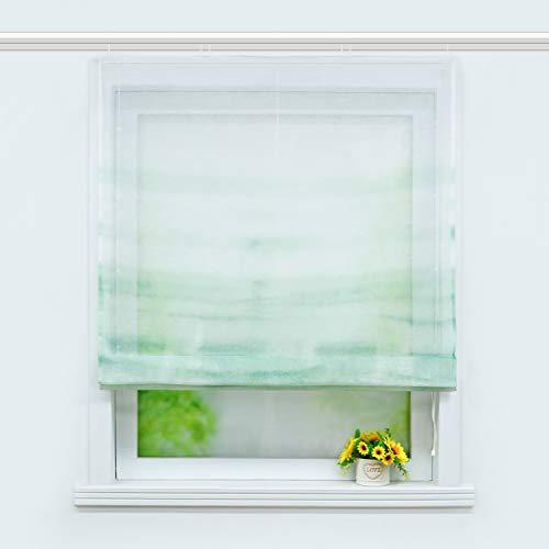 Joyswahl transparentes Raffrollo mit Farbverlauf Druck Raffgardine mit Klettschiene »Alia« Schals Fenster Gardine BxH 120x140cm Grün 1 Stück