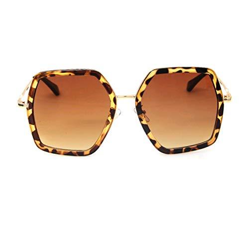 GAMT Oversized Square Sunglasses Women Vintage UV Protection?irregular Brand Designer Shades (leopard)