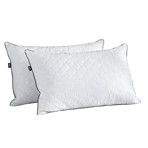 UMI. by Amazon – Almohadas de Plumón y Plumas de Ganso Blanco con Funda de 100% Algodón, Bordado Dot Cojín, 48 X 74 cm, Pack de 2