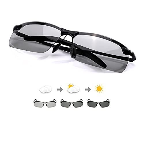TJUTR Homme Lunette De Soleil Photochromiques Polarisées Conduite Pêche Golf Eyewear 100% UVA UVB Protection (Noir/Gris)