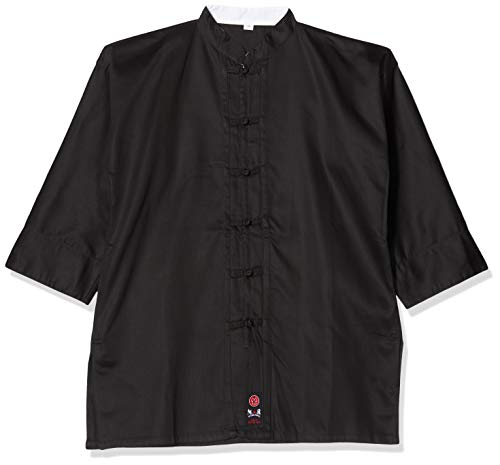 M.A.R International Kung Fu Uniform Gi Outfit Kleidung Kostüm Gear Kampfsport Wu SHU Wing Chun Tai Chi Baumwollstoff schwarz 180 cm
