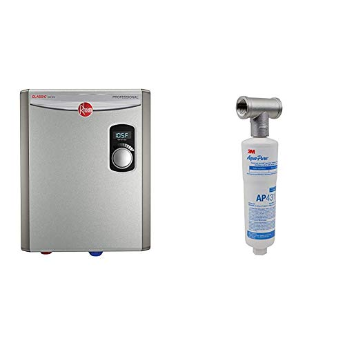Rheem RTEX-18 18kW 240V Electric Tankless Water Heater, small, Gray & 3M Aqua-Pure Whole House Scale Inhibition Inline Water System AP430SS