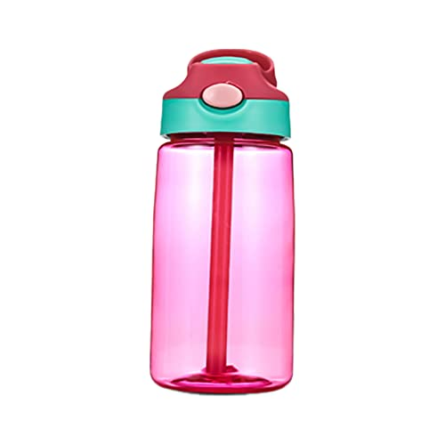 GUOXIANG Botella de agua para niños, 480 ml, con pajita, para niños, de plástico, sin BPA, antigoteo, con apertura de clic, para niños, escuela, deportes al aire libre, color rojo