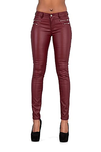 Hochwertige Damenhosen, glatte Damen Hose, Frauen Kunstlederhose, PU Lederhose Jean (34, Bordeaux)