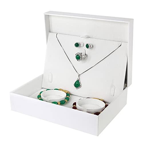 Almacenamiento de joyas Oganizer Caja de almacenamiento de ornamento de conjunto de boda, Pulsera de oro Collar Pendientes Anillo Pantalla Organizador Bandeja Titular de la bandeja, Regalos de boda Pa