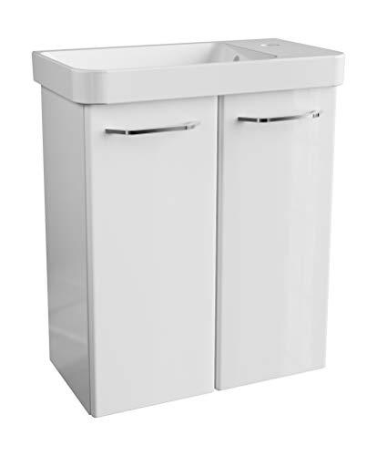 FACKELMANN Milano Gäste WC Set 2 Teile/Waschbecken/Waschbeckenunterschrank mit 2 Türen/Badschrank mit Soft-Close/Badmöbel Set fürs kleine Bad/Korpus & Front: Weiß/Breite: 55 cm
