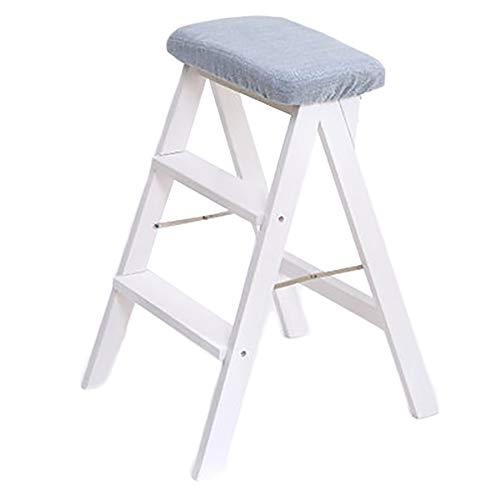 Stool Ladder- Tabouret de maison tabouret pliant portable échelle adulte chaise simple tabouret de cuisine tabouret haut en bois massif avec coussin (Couleur : Blanc)