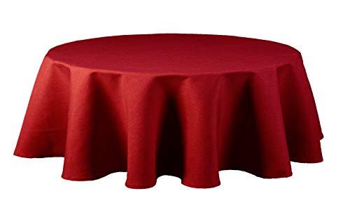 Maltex24 Textil Tischdecke - Leinen Optik - wasserabweisend oval (rot, oval 135x180)