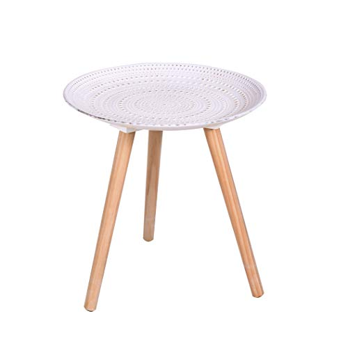CRIBEL Modello Sharm Coffee Table Interamente in Legno con Piano Finitura Bianco Vintage a Rilievo, Altezza 42 cm