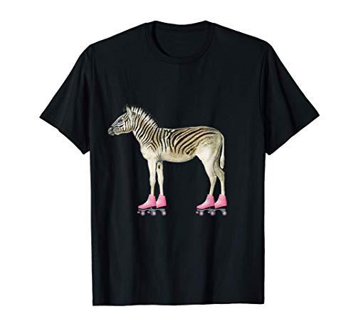 Rollschuh Roller Girl Geburtstag Zebra T-Shirt