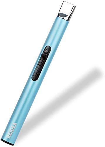 REIDEA USB Elektronisches Kerzenfeuerzeug, Lang Akkufeuerzeug Aufladbar Lichtbogen Stabfeuerzeug/Arc Lighter Flammenlos Kerzenanzünder Winddichtes mit Sicherheitsschalter für Feuerwerk,Küche,Grill