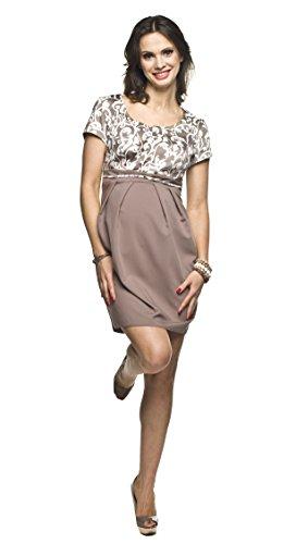 Torelle Maternity Wear Umstandskleid mit Stillfunktion festlich, Modell: Ronja, beige, Größe S