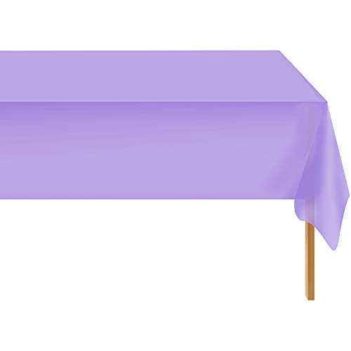 Lavender 12 Pack Standard Disposable Plastic Party Tablecloth 54 Inch. x 108 Inch. Rectangle Table Cover By Zimpleware