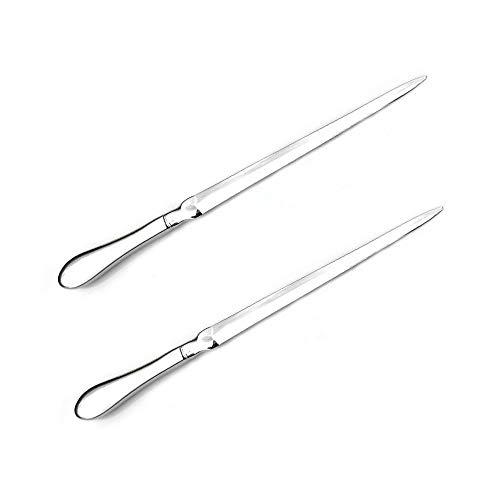2pcs Letter Opener Metal Envelope Slitter Envelope Opener Letter Opening Knife, Paper Cut Paper Knife Silver 9 inches