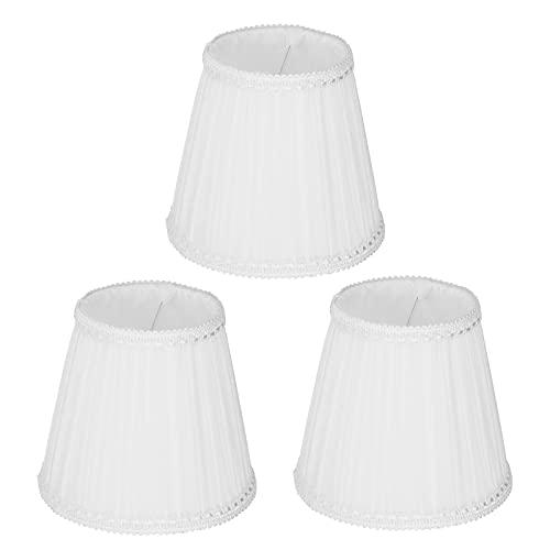QiruIXinXi Pantalla de lámpara de tela E14 con clip, de tela moderna, líneas lisas, duradera, simple y elegante, suaviza la luz, para decoración moderna de interiores, color blanco