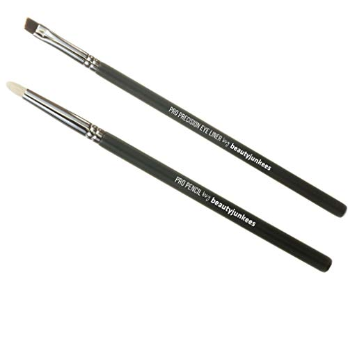 Professional Eyeliner Makeup Brush Set – 2pc Beauty Junkees Eye Liner Brushes Includes Angled Precision Gel Liner for Tightline, Pencil Smudge for Blending Shadows on Lash Line; Premium Quality