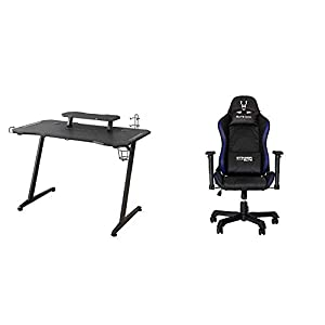 Woxter Stinger Gaming Desk Elite – Mesa Gaming de Escritorio, Leds, Organizador de Cascos, Mandos y Posa Vasos + Silla Gaming con Leds