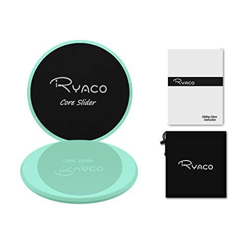 Ryaco Gleitscheiben – Doppelseitige Gliding Discs für Hause Training Bauch Workouts & Ganzkörpertraining – Gratis Tragebeutel – Für Teppich & Holzböden (Minzgrün)