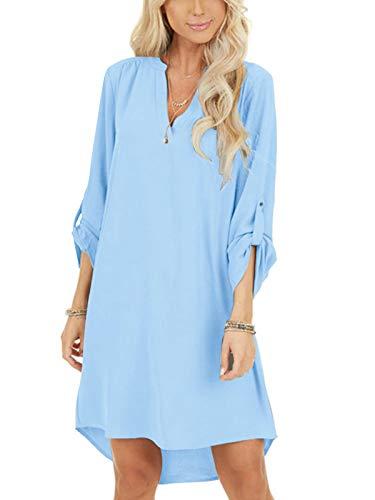 YOINS Damen Kleider Tshirt Kleid Sommerkleid für Damen Brautkleid Langarm Minikleid Kleid Langes Shirt V-Ausschnitt Lose Tunika mit Bowknot Ärmeln Hellblau S