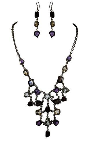 Rajasthan Gems - Juego de collar y pendientes de plata de ley 925, diseño de piedras semipreciosas