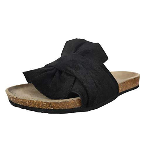 iYmitz Hausschuhe Damen Outdoor-Sandalen mit niedrigem Absatz Sommer rutschfeste Flache Damenschuhe Slipper Sandaletten Bequeme Casual mit Bowknot Flip Flops