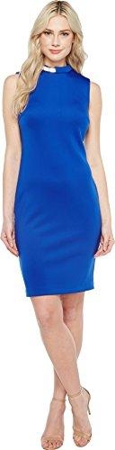 Calvin Klein Women's Sleeveless Round Neck Scuba Sheath Dress with Chain Necklace, Regatta, 4