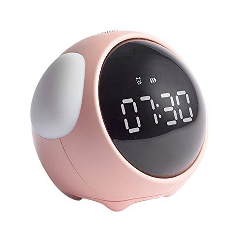 Tamkyo Reloj despertador multifuncional estudiante noche noche luz reloj electrónico Snooze niños despertador rosa