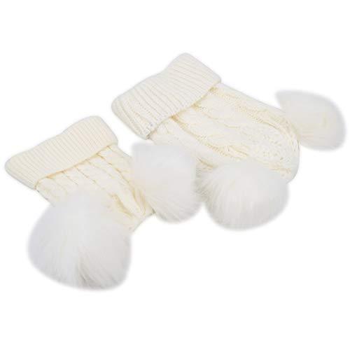 2 peças de bonequinho para pais e filhos, chapéu confortável quente de inverno, quente para crianças adultos (branco, pais e crianças)