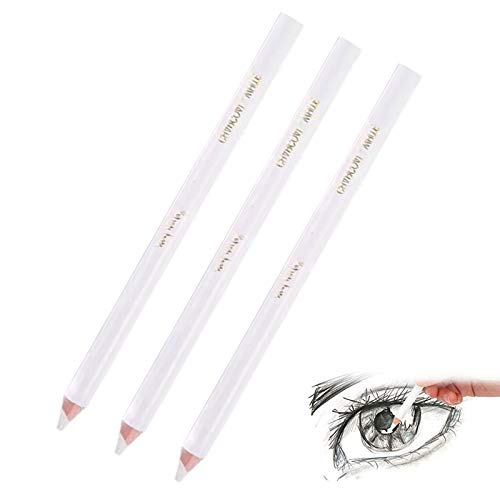 Blanco Resaltar Lápiz Blanco Carbón Lápices Lapices Carboncillo Blanco Lapices Carboncillo para Dibujo Lápiz Pastel Blanco Lápiz de Madera Profesional para Dibujar para Artista Dibujar 3 Piezas