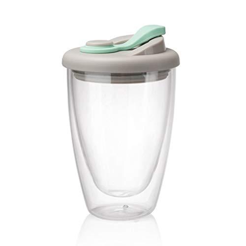 Hanone Tazas de café Taza de Vidrio de Doble Pared Tazas de café y té Latte con Tapa de Silicona Cubierta Azul Claro + Transparente 450ML