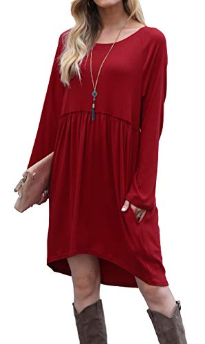Womens Fall Cute High Low Short Casual T Shirt Tunic Dress with Pockets Red L