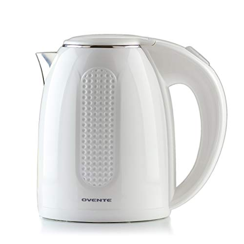 Ovente Electric Hot Water Kettle 1.7 Liter Double Wall Insulated Stainless Steel with Auto Shut-off and Boil Dry Protection, 1100 Watt Portable BPA-Free Pitcher Fast Heating Coffee & Tea, White KD64W