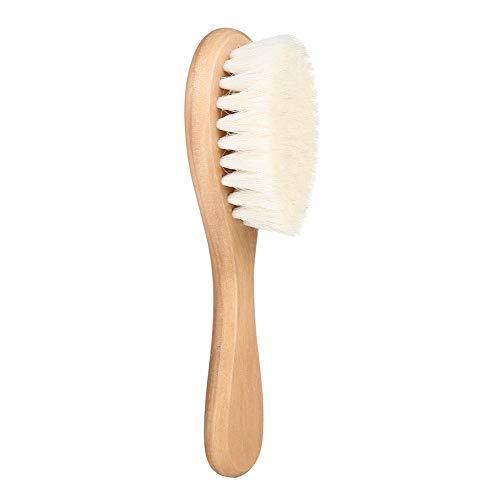 Cepillo para la cabeza del bebé, suave pelo natural de cabra, peine de cerdas de madera, herramienta exfoliante para recién nacidos, ducha registro, regalo para la gorra