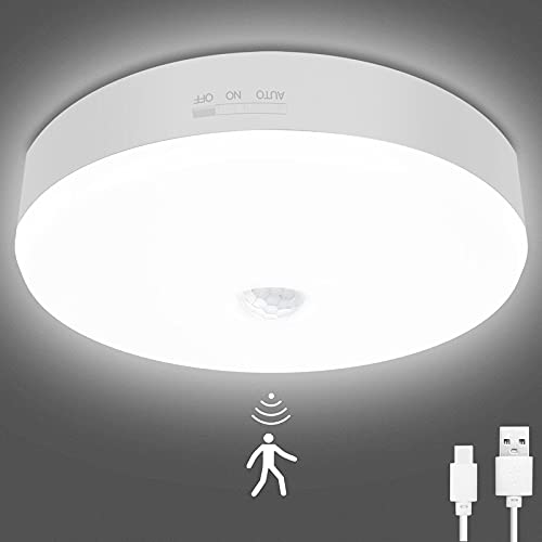 Motion Sensor LED Ceiling Light , TOOWELL Rechargeable LED Closet Lights with USB Cable, Round Lighting Fixture for Indoor/Outdoor Stairs Closet Rooms Porches Basements Hallways Pantries Laundry Rooms