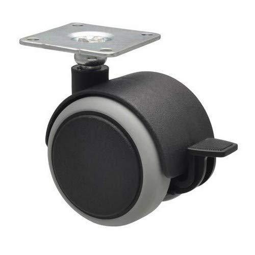 Negro Juego Ruedas giratorias para muebles capacidad de carga 12 kg//rollo 4 unidades 2 ruedas sin y 2 ruedas con bloqueo 02222704 superficie suave Wagner Design 3C di/ámetro 25 mm